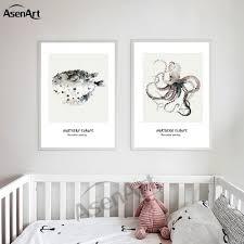 Kaufen Leinwand Malerei Kunstwerk Farbige Puffer Tintenfisch Tiere