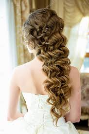 Svatební účes Dlouhé Vlasy S Drahé Dekorace Stock Fotografie