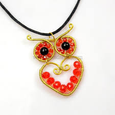 wire wrapped owl pendant necklace