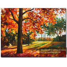 fresh colors hand painted modern abstract autumn leaves oil painting on canvas beautiful orange colour