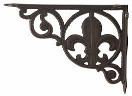 wall shelf bracket brace fleur de lis pattern cast iron 8 625