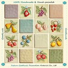 kitchen tiles with fruit design. hand painted fruit design wall relief tile kitchen decoration tiles with