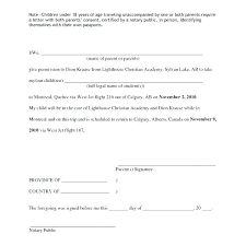 Letter Of Consent To Travel With One Parent Template Parental