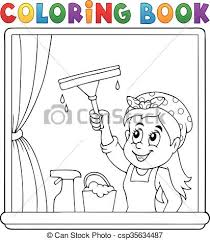coloring book woman cleaning window csp35634487