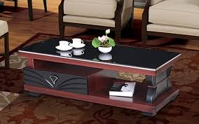 royaloak wave coffee table with tempered glass top