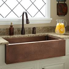 34 perenna reversible copper farmhouse sink hammered front