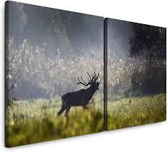 Paul Sinus Art Gmbh Im Wald 120x60cm 2 Wandbilder Je 60x60cm