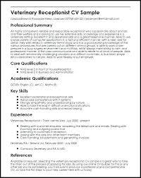 Veterinary Resumes Receptionist Resume Objective Emelcotest Com
