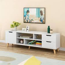 Luxury Tv Stand Design C Easy Modern Tv Stand Luxury Tv Cabinet With 3 Drawers Tv Table Console Media Storage Solid Wood Tv Desk With 4 Open Storage Shelf For Living
