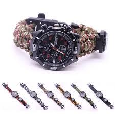 <b>Tactical multi Outdoor</b> Camping survival bracelet <b>watch</b> compass ...
