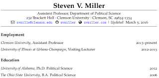 Us Resume Format Adorable Make Your Academic CV Look Pretty In R Markdown Steven V Miller