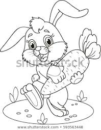 Coloring Page Outline Cartoon Rabbit Carrot Stock Vector Royalty