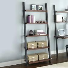 leaning bookcase shelf desk plans ladder black white