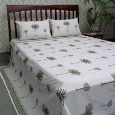cotton block printed queen size bedspread palm tree green 105269