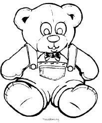 Small Picture Teddy Bear Simple Black White Coloring Pages Online Printable
