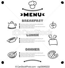 dinner template hand drawn menu for cafe with breakfast lunch dinner inscriptions template design