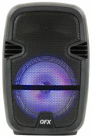 Qfx Portable Bluetooth Speaker With Microphone And Disco Light