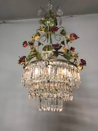 vintage italian crystal porcelain flower chandelier