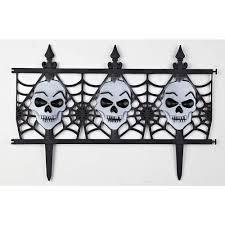 SKYMALL 12 in. Plastic Decorative Halloween <b>Skull Garden</b> Fence ...