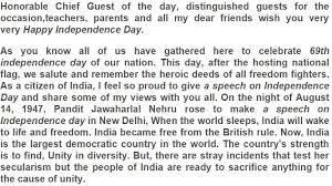 independence day speech essay