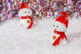 Christmas Snowmen On Them Red Hats And Scarves Snowmen On White