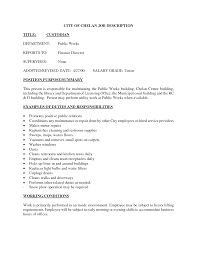 Alluring Janitor Job Duties Resume About Cleaner Resume Experience