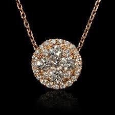 details about diamond 18k rose gold pendant necklace