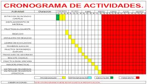 formato cronograma de actividades mensual brigada de emergencia montana grafica cronograma de actividades