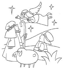 Kids N Fun Kleurplaat Bijbel Kerstverhaal Engel Vertelt Het De Herders