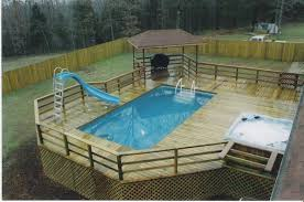 rhcom amazing above ground pool decks with hot tub and