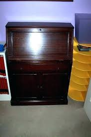 small wooden desk double computer with wood clock bureau useful and slim little sm