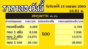 ราคาทองคำวันนี่ วันจันทร์ที่ 13 เมษายน 2563 ราคาทองแท่งบาทละ ราคา
