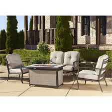gas fire pit patio furniture. cosco outdoor 5-piece serene ridge aluminum patio furniture conversation set with cushions and gas fire pit table, dark brown - walmart.com