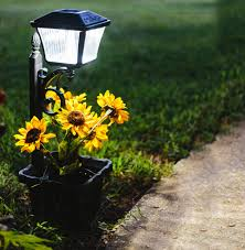 Solar Lamp Post With Planter Gama Sonic Wall Or Path Lights Set Of 2