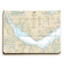 Neuse River Depth Chart Nc Neuse River Upper Bay River Nc Nautical Chart Sign Graphic Art Print On Wood