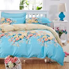 dropwow elegant fl bedding set polyester cotton bed linen sets 4pcs bedspreads kids twin size blue duvet cover bed sheet set