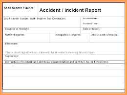 Injury Form Template Incident Employee Injury Incident Report Form