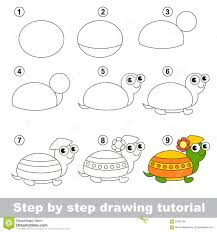 Small Picture Drawing Tutorial How To Draw A Turtle Stock Vector Image 65352166