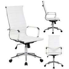 leather swivel office chair. 2xhome White Executive Ergonomic High Back Modern Office Chair Ribbed PU Leather Swivel For Manager Conference