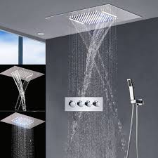 modern shower heads. Modern Bathroom Fixtures LED Shower Set Big Rain Head Waterfall Bath Faucets With 3 Way Heads