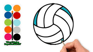 Volleyball Color Pages How To Draw Ball For Volleyball Colours For Kids Reverse Coloring Pages Sport Learn Color