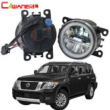 2018 Nissan Titan Led Fog Lights Cawanerl For Nissan Armada Closed Off Road Vehicle 2003 2008 Car Led Bulb Fog Light Angel Eye Daytime Running Light Drl 12v