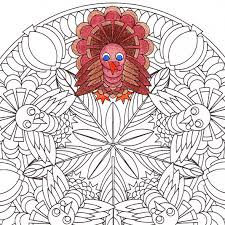 Small Picture Thanksgiving Mandala Coloring Page Turkey Time printable