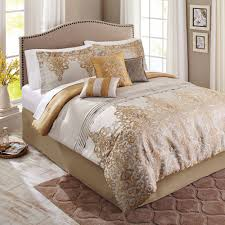 better homes and gardens 7 piece bedding comforter set gold accent damask com
