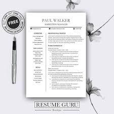 Modern Resume Etsy Teacher Resume Template Cv Template For Ms Word Professional Resume Modern Resume Design Resume Instant Download Buy One Get One Free