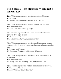 Main Idea and Text Structure Worksheet 4   Answers