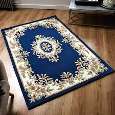 blue traditional rug wool royal