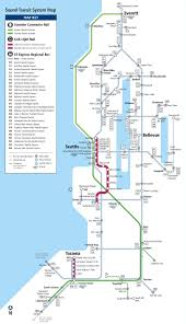 Seattle Transit Map Light Rail Seattle Express Bus Rail And Light Rail Map Seattle