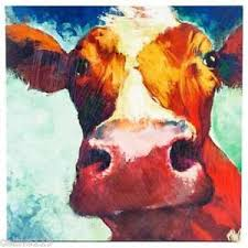 image is loading big cow canvas wall art hand painted large  on two cows canvas wall art with big cow canvas wall art hand painted large piece farmhouse decor ebay