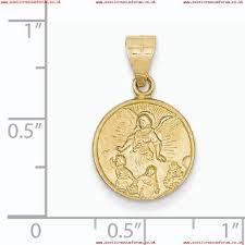 18k solid patterned back polished and satin gold guardian angel medal pendant measures 13 6x22 larger image